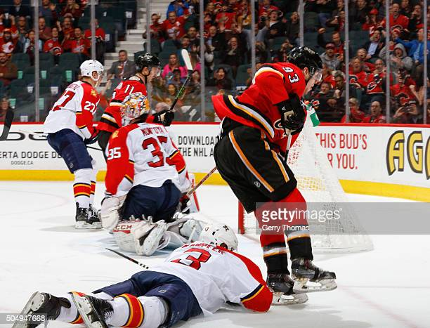Sam Bennett of the Calgary Flames celebrates after his goal against the Florida Panthers at Scotiabank Saddledome on January 13 2016 in Calgary...