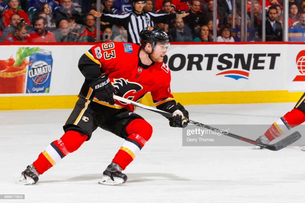 Sam Bennett #93 of the Calgary Flames in a NHL game against the Vancouver Canucks at the Scotiabank Saddledome on December 09, 2017 in Calgary, Alberta, Canada.