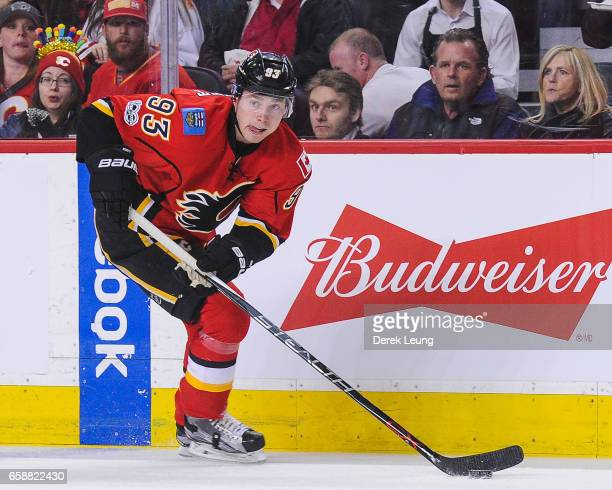 Sam Bennett of the Calgary Flames in action against the Colorado Avalanche during an NHL game at Scotiabank Saddledome on March 27 2017 in Calgary...