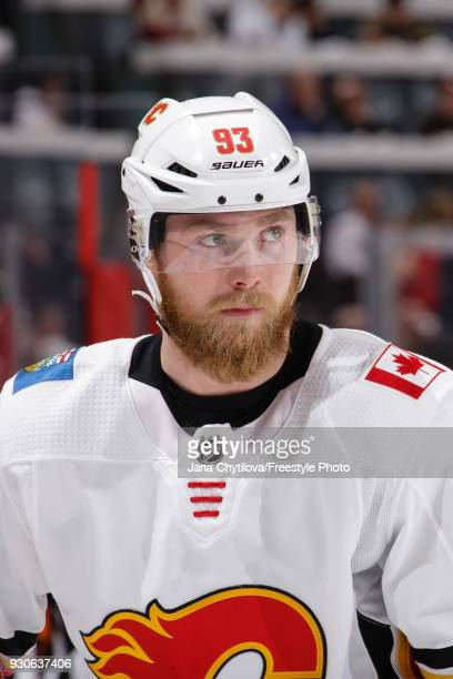 Sam Bennett of the Calgary Flames looks on during a stoppage in play against the Ottawa Senators at Canadian Tire Centre on March 9 2018 in Ottawa...