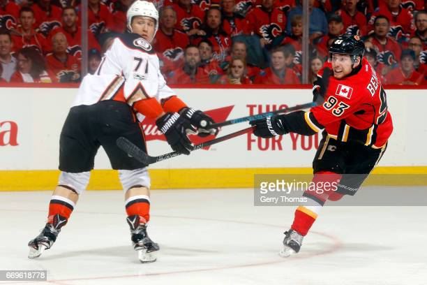 Sam Bennett of the Calgary Flames shoots the puck against the Anaheim Ducks during Game One of the Western Conference First Round during the 2017 NHL...