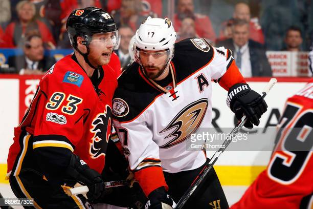 Sam Bennett of the Calgary Flames skates against Ryan Kesler of the Anaheim Ducks during Game One of the Western Conference First Round during the...