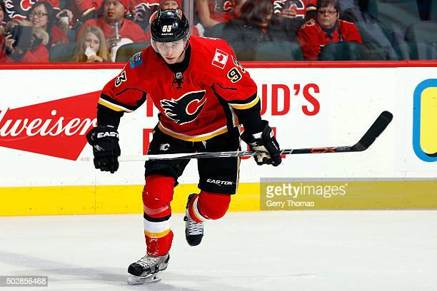 Sam Bennett of the Calgary Flames skates against the Anaheim Ducks during an NHL game at Scotiabank Saddledome on December 29 2015 in Calgary Alberta...