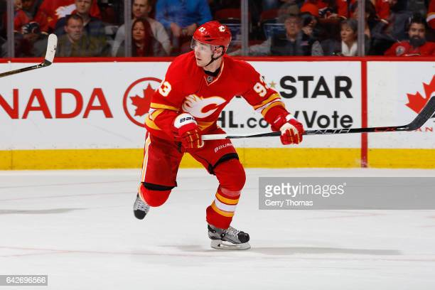 Sam Bennett of the Calgary Flames skates against the Arizona Coyotes during an NHL game on December 31 2016 at the Scotiabank Saddledome in Calgary...