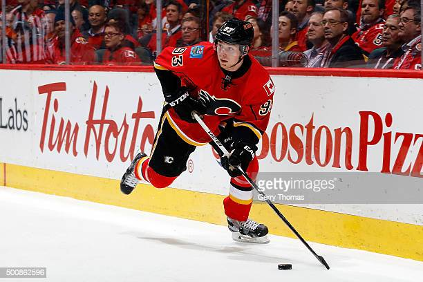 Sam Bennett of the Calgary Flames skates against the Buffalo Sabres during an NHL game at Scotiabank Saddledome on December 10 2015 in Calgary...
