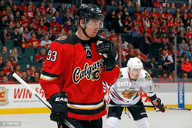 Sam Bennett of the Calgary Flames skates against the Chicago Blackhawks during an NHL game at Scotiabank Saddledome on March 26 2016 in Calgary...