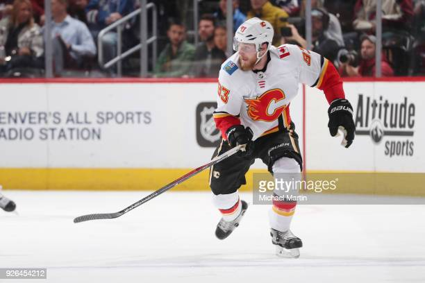 Sam Bennett of the Calgary Flames skates against the Colorado Avalanche at the Pepsi Center on February 28 2018 in Denver Colorado The Avalanche...
