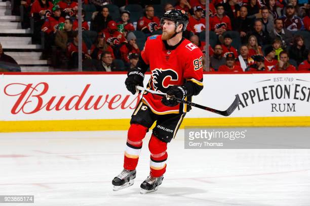 Sam Bennett of the Calgary Flames skates against the Colorado Avalanche during an NHL game on February 24 2018 at the Scotiabank Saddledome in...