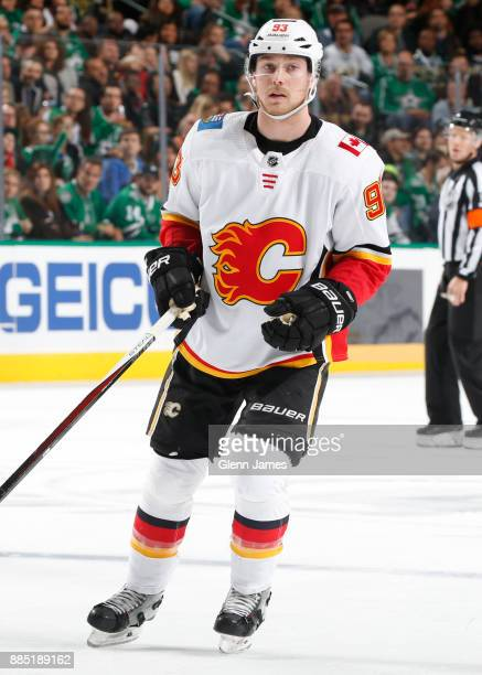 Sam Bennett of the Calgary Flames skates against the Dallas Stars at the American Airlines Center on November 24 2017 in Dallas Texas