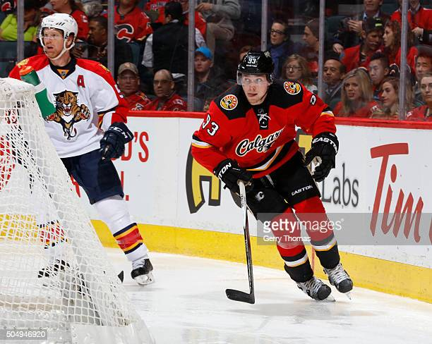 Sam Bennett of the Calgary Flames skates against the Florida Panthers at Scotiabank Saddledome on January 13 2016 in Calgary Alberta Canada