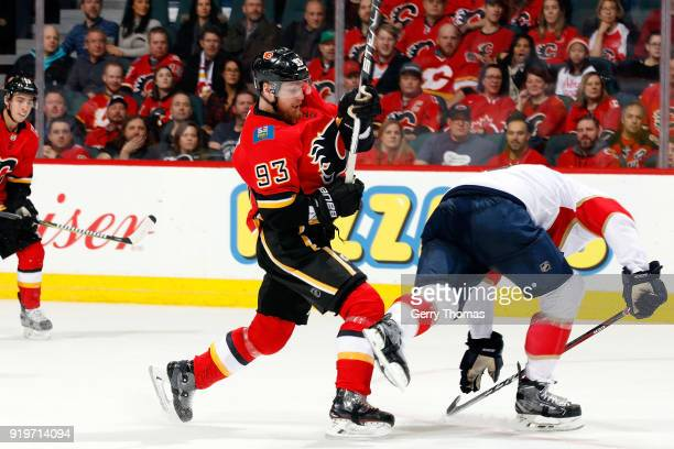 Sam Bennett of the Calgary Flames skates against the Florida Panthers during an NHL game on February 17 2018 at the Scotiabank Saddledome in Calgary...