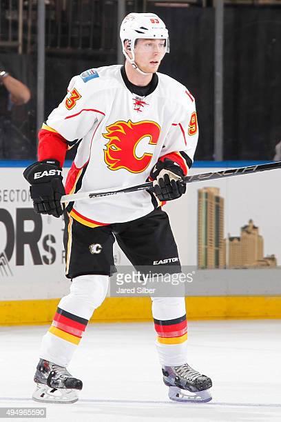Sam Bennett of the Calgary Flames skates against the New York Rangers at Madison Square Garden on October 25 2015 in New York City The New York...