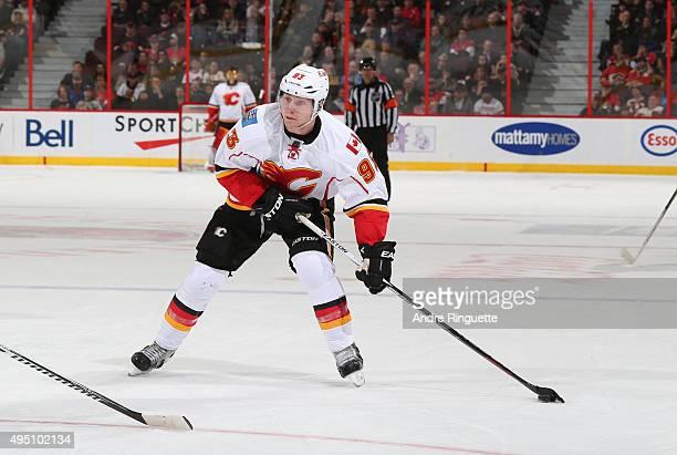 Sam Bennett of the Calgary Flames skates against the Ottawa Senators at Canadian Tire Centre on October 28 2015 in Ottawa Ontario Canada