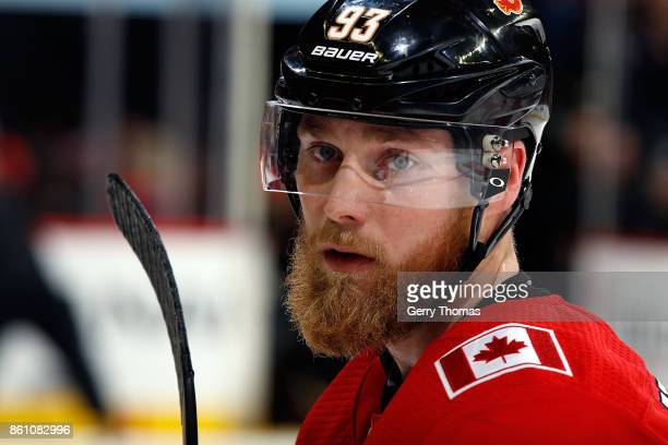 Sam Bennett of the Calgary Flames skates against the Ottawa Senators during an NHL game on October 13 2017 at the Scotiabank Saddledome in Calgary...