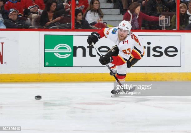 Sam Bennett of the Calgary Flames skates against the Ottawa Senators at Canadian Tire Centre on March 9 2018 in Ottawa Ontario Canada