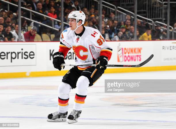 Sam Bennett of the Calgary Flames skates against the Pittsburgh Penguins at PPG Paints Arena on February 7 2017 in Pittsburgh Pennsylvania