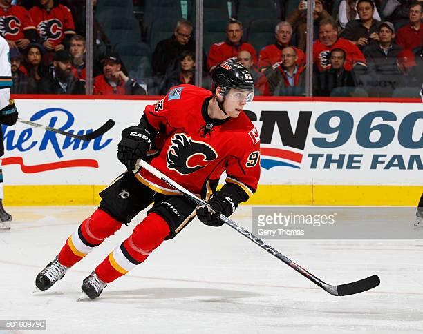 Sam Bennett of the Calgary Flames skates against the San Jose Sharks at Scotiabank Saddledome on December 8 2015 in Calgary Alberta Canada