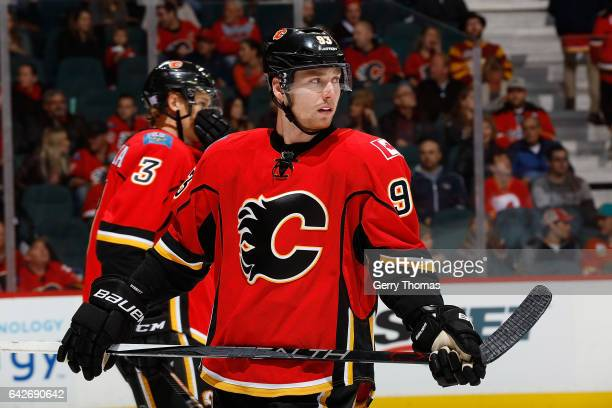 Sam Bennett of the Calgary Flames skates against the Washington Capitals during an NHL game on October 30 2016 at the Scotiabank Saddledome in...