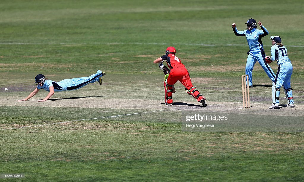Sam Betts of the Scorpions escapes a catch during the WNCL match between the South Australia Scorpions and the New South Wales Breakers at Prospect Oval on December 22, 2012 in Adelaide, Australia.