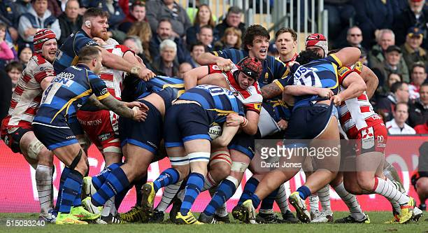Sam Betty of Worcester Warriors retains possession in a maul against Gloucester Rugby during the Aviva Premiership match between Worcester Warriors...