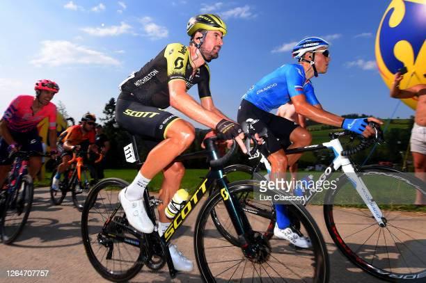 Sam Bewley of New Zealand and Team Mitchelton - Scott / Jasper Philipsen of Belgium and UAE Team Emirates / during the 77th Tour of Poland 2020,...
