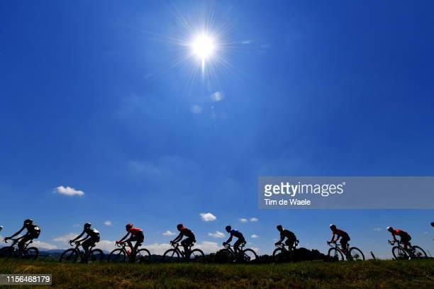 Sam Bewley of New Zealand and Team Mitchelton - Scott / Michael Albasini of Switzerland and Team Mitchelton - Scott / Szymon Sajnok of Poland and CCC...