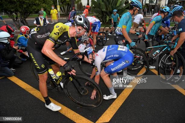 Sam Bewley of New Zealand and Team Mitchelton - Scott / Remi Cavagna of France and Team Deceuninck - Quick-Step / Crash / during the 107th Tour de...