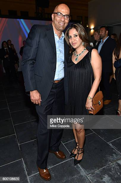 Sam Bhatia and Amrita Singh attend the Cartier Fifth Avenue Grand Reopening Event at the Cartier Mansion on September 7 2016 in New York City