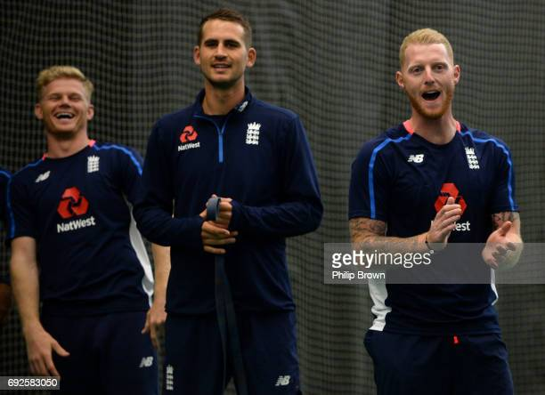 Sam Billings Alex Hales and Ben Stokes of England react during a net session at the Swalec Stadium ahead of the ICC Champions Trophy match between...
