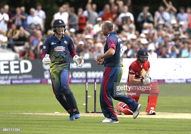 Sam Billings and Darren Stevens of Kent celebrate the wicket of Karl Brown of Lancashire during the NatWest T20 Blast quarter final match between...