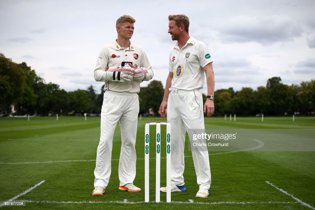 Sam Billings and Paul Collingwood chat during filming of the Specsavers advert The Umpires Strikes Back on August 23, 2017 in London, England.