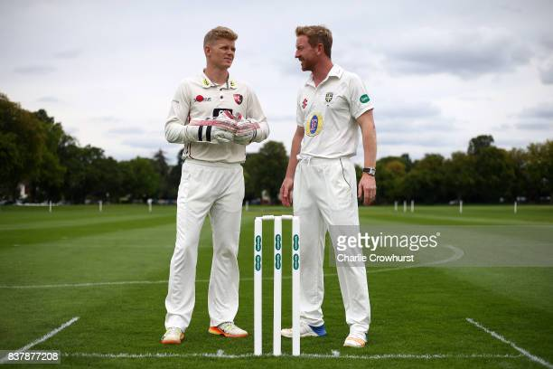 Sam Billings and Paul Collingwood chat during filming of the Specsavers advert The Umpires Strikes Back on August 23 2017 in London England