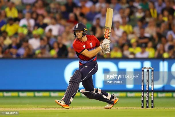 Sam Billings of England bats during game two of the International Twenty20 series between Australia and England at Melbourne Cricket Ground on...