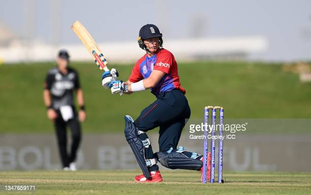 Sam Billings of England bats during the England and New Zealand warm Up Match prior to the ICC Men's T20 World Cup at on October 20, 2021 in Abu...
