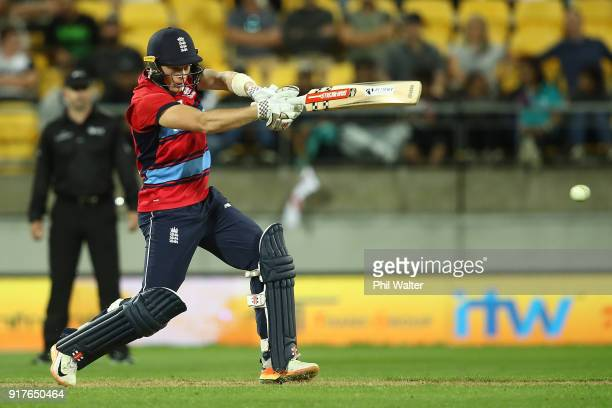 Sam Billings of England bats during the International Twenty20 match between New Zealand and England at Westpac Stadium on February 13 2018 in...