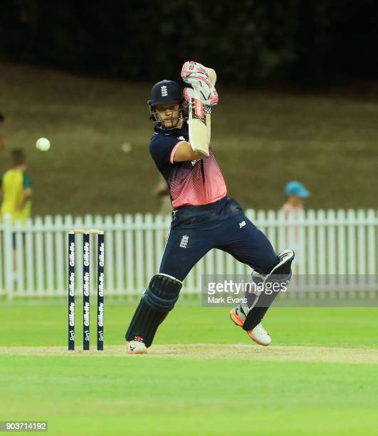 Sam Billings of England bats during the One Day Tour Match between the Cricket Australia XI and England at Drummoyne Oval on January 11 2018 in...