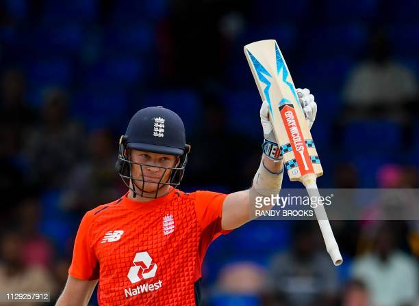 Sam Billings of England celebrates his half century during the 2nd T20I between West Indies England at Warner Park Basseterre Saint Kitts and Nevis...
