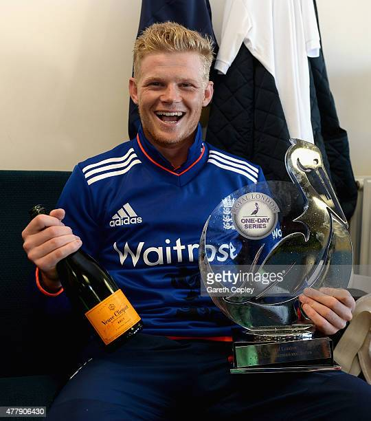 Sam Billings of England celebrates in the dressing room after winning the 5th ODI Royal London OneDay match between England and New Zealand at...