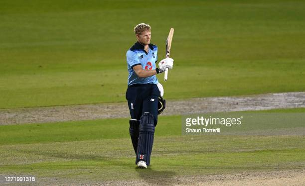 Sam Billings of England celebrates reaching his century during the 1st Royal London One Day International Series match between England and Australia...