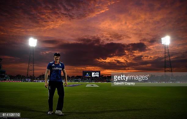 Sam Billings of England fields on the boundary as the sunsets during the 3rd One Day International match between Bangladesh and England at Zohur...
