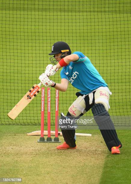 Sam Billings of England in batting action during an England Nets Session at Sophia Gardens on June 21, 2021 in Cardiff, Wales.