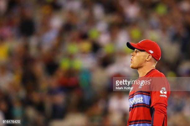 Sam Billings of England shows his frustration during game two of the International Twenty20 series between Australia and England at Melbourne Cricket...