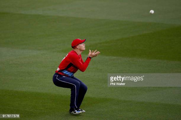 Sam Billings of England takes a catch to dismiss Colin Munro of the Blackcaps during the International Twenty20 match between New Zealand and England...