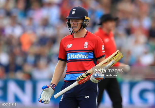 Sam Billings of England walks off after losing his wicket during the 2nd NatWest T20 International match between England and South Africa at The...