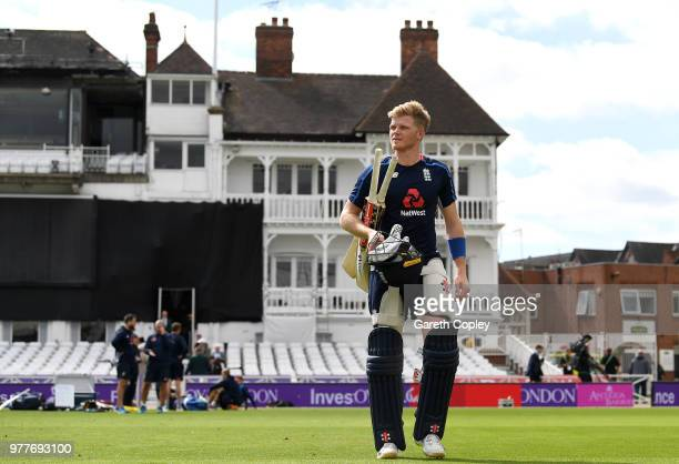 Sam Billings of England walks to the nets during a nets session at Trent Bridge on June 18 2018 in Nottingham England