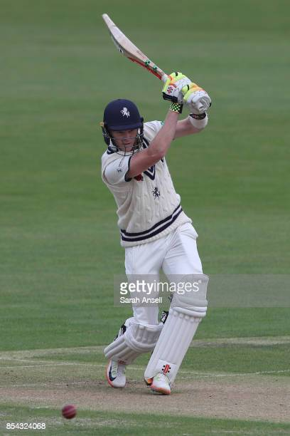 Sam Billings of Kent hits a boundary during day one of the Specsavers County Championship Division Two match between Kent and Glamorgan at The...