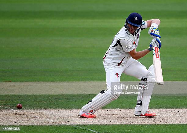 Sam Billings of Kent hits out during day two of the LV County Championship match between Surrey and Kent at The Kia Oval on July 14 2015 in London...