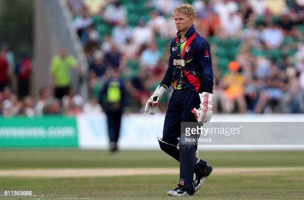 Sam Billings of Kent keeps wicket minus cap during the Kent Spitfires v Essex Eagles NatWest T20 Blast cricket match at the County Ground on July 09...