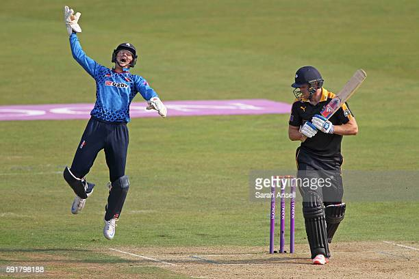 Sam Billings of Kent leaps in celebration after taking a catch to dismiss David Willey of Yorkshire first ball during the Royal London OneDay Cup...