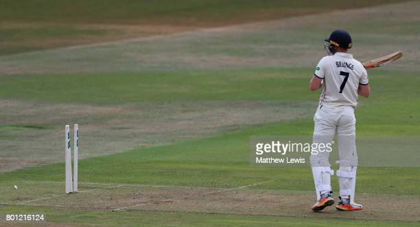 Sam Billings of Kent looks on after he was bowled by Luke Fletcher of Nottinghamshire during the Specsavers County Championship Division Two match...